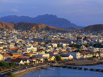 Mindelo, capital of São Vicente, sprawls down to the Atlantic Ocean.